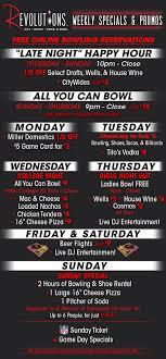 weekly specials schedule