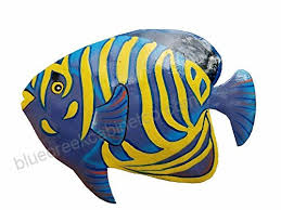hand chiseled and painted tropical metal art wall decor fish b06y3tcll3
