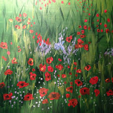 easy field of poppies acrylic painting
