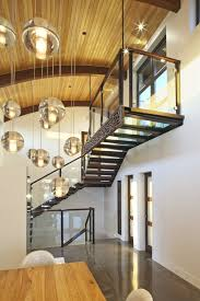 glass pendant lights staircase modern with ceiling