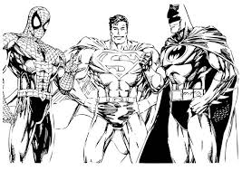 Small Picture Batman Coloring Pages Batman Spiderman And Superman 4973