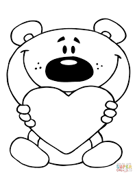 Small Picture Teddy Bear Holding a Red Heart coloring page Free Printable