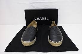 chanel espadrilles black lambskin shoe