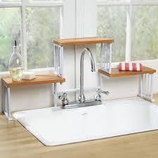 paper storage sink put wooden  tier over the sink shelf kitchen faucet space saver storage shelf eba