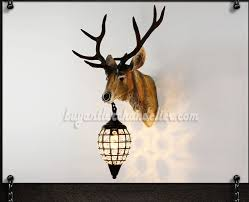 deer head wall mount sconces crystal pendant light lamps faux taxidermy sculpture natural color