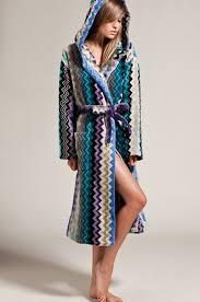 missoni home giacomo hooded bathrobe in blues  fwrd