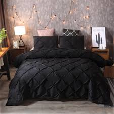 pleat embroidery flower bedding set handmade pinch flower duvet cover solid black bedding set us uk au 11 size can choose duvet cover sets queen