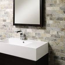 mosaic bathroom tiles. Anatolian Grey Honed \u0026 Filled Travertine Brick Mosaic 48x98mm Bathroom Tiles