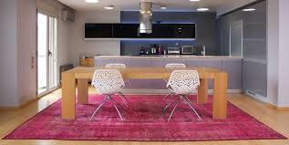 contemporary kitchen room with pink overdyed rug