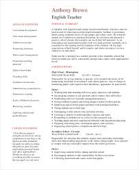 resume of english teacher