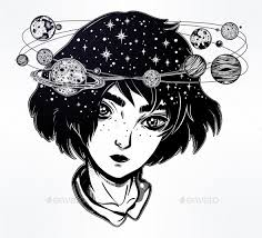 Portriat Of Cute Girl Face With Head Spin Halo Of Planets And Stars