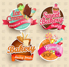 Food Sticker Set Bakery Ice Cream Candy Sweet Bakery Vector