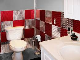 4'x8' Set of Anodized Red and Polished Silver Diamond Plate Wall Tiles