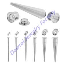 taper gauge kit. 2 in 1 stainless steel hollow threaded plugs and tapers set screw fit ear gauge tunnel taper kit