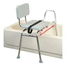 extra long sliding transfer bench with padded seat and back assists caregivers in bathtub transfers