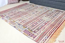moroccan kilim rug zemmouri pure wool handwoven 192 cm x 145 cm 6 3 ft x 4 7 ft kr1