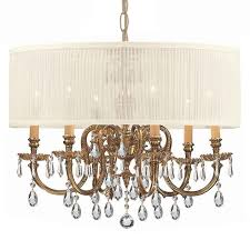 crystorama bwood 6 light drum shade brass chandelier