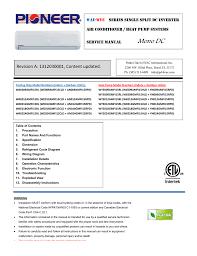 Pioneer Mini Split Pressure Chart Service Manual For Pioneer Wae Wye 15 Seer Mini Split Inverter