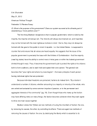 federalist review essay jpg cb  erin shumaker 31 2012 american political thought federalist 10 review essay q what
