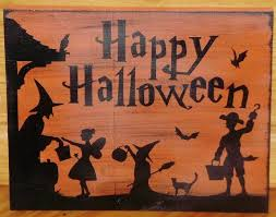 Trick Or Treat Sign Decorations Halloween decorations Primitive by SleepyHollowPrims on Zibbet 1