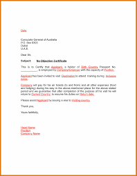 No Objection Letter Sample Forsiness Visa Format Starting For