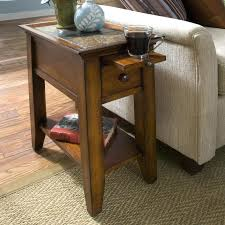 end tables narrow wood table for living room with pull out tray storage occasional slim side