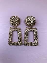 Zara Golden Raised Design Earrings Golden Raised Design Earrings
