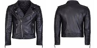 diamond quilted kay michael soft leather mens black biker jacket back