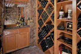 custom wall units in wine cellar wine rack