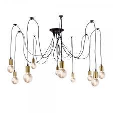 edison spider hanging pendant lights gold