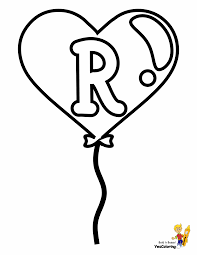Fun Valentines Easy Coloring Pages Alphabets Balloons