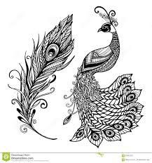 Design Black And White Art Peacock Feather Design Black Doodle Print Stock Vector