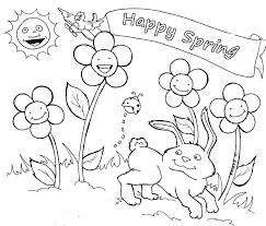 Happy Spring Coloring Pages Bourseauxkamas Com