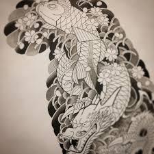 эскиз рукава в процессе японская татуировка в москве 89162225535