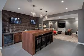 calgary basement dry bar ideas with modern recessed light trims  transitional and brick wall mounted tv