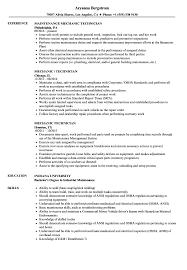 Industrial Maintenance Mechanic Sample Resume Mechanic Technician Resume Samples Velvet Jobs 92