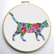 Cat Cross Stitch Patterns Best Floral Cat Cross Stitch Pattern Set Of 48 Patterns Instant Etsy
