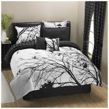 Bedroom:Beautiful Black And White Bedding Sets With Tree Pattern Comforter  Also Black Window Curtains