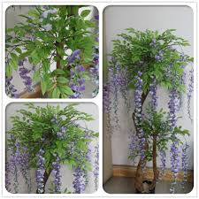 Decorative Indoor Trees 2016 Manufacturer Beautiful Fake Indoor Wisteria Flower Pot Tree