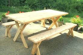 octagon picnic table separate benches with detached plans awesome round wood tables foot pine wooden