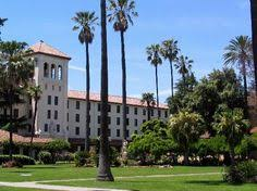 the new palm drive pedestrian mall leading up to mission santa  santa clara university is a private co educational jesuit affiliated university founded in santa clara is the oldest operating institution of higher