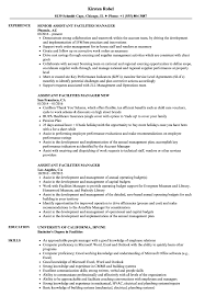 Facility Manager Job Description Resume Assistant Facilities Manager Resume Samples Velvet Jobs 24