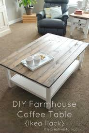 This is a very easy and inexpensive DIY Famhouse Coffee Table Use an Ikea  Table and update to make your very own planked table