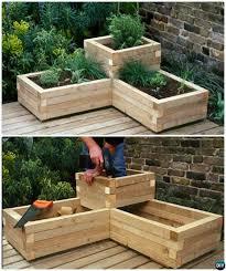 DIY Corner Wood Planter Raised Garden Bed-20 DIY Raised Garden Bed Ideas  Instructions #