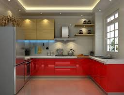amazing red kitchen cabinet and grey wall decor with ceiling lighting