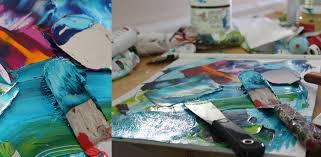 working in an abstract style with pallet knife is a way to use my creativity freely i mix my colors directly on the canvas and this technique allows me to