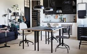ikea office furniture. A Black And White Kitchen With Two Tables Back-to-back In The Centre Ikea Office Furniture O