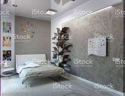 Kinder Schlafzimmer Innenraum Gestaltung 3dabbildung Stockfoto Und