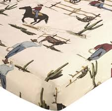 wild west cowboy print fitted crib sheet