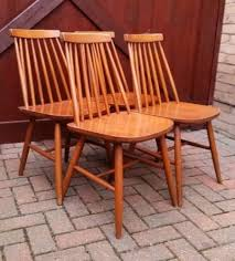 set of 4 mid century ercol style wooden spindle back dining chairs vine retro